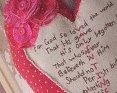 Heart Valentine Pillow - Primitive John 3:16 Embroidered Red and Pink Valentine's Day Pillow with Stacked Flower, Key and Buttons