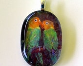 Lovebirds Jewelry Art  Pendant Oval Glass