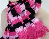 Pink and Black Striped Crochet Scarf with Braid Stitch by AllKindsofArt