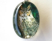 Great Horned Owl Jewelry Art Glass Pendant Small Oval