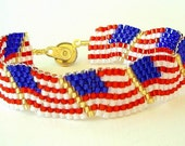 Beaded Bracelet US Flag Wavy  Red White Blue Patriotic American Flag Day July 4th Peyote Stitch