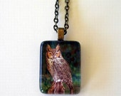 Great Horned Owl Jewelry Antique Brass Gold  Pendant Necklace