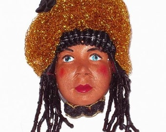 Doll Face Jewelry Pin Brooch Black Beaded Hair Gold Hat