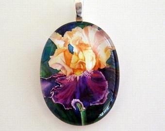 Iris Jewelry Pendant Peach and Purple Flower Art Glass Fashion Queen Iris