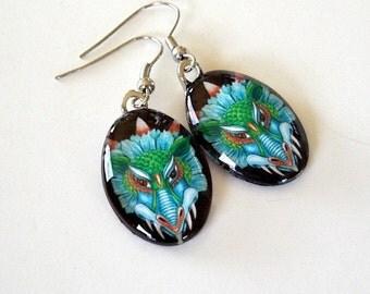 Dragon Jewelry Earrings Turquoise Aqua Orange Eyes Art Glass