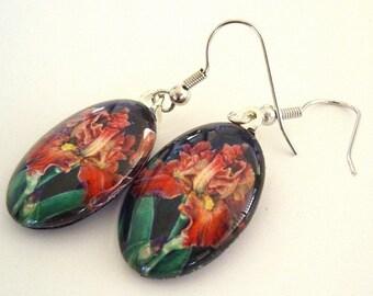Iris Jewelry Earrings Red Gold Iris Art Glass Cafe Coffea