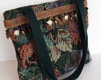 Animal Print Purse Tote Green Jungle Animals Tiger Elephant Leopard Tapestry