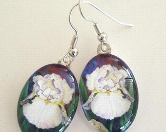 White Iris Flower Earrings Art Glass Oval Bridal Icing