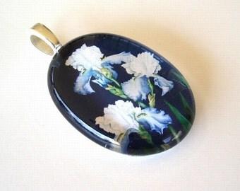 Iris Flower Jewelry Blue and White Iris Oval Art Glass Pendant