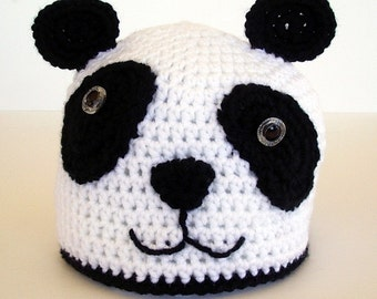 Panda Bear Childrens Crochet Hat Black and White