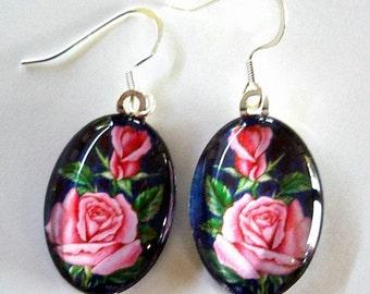 Pink Rose Earrings Oval Art Glass