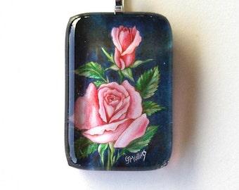 Rose Jewelry Pendant Pink  on Navy Rectangular Art Glass