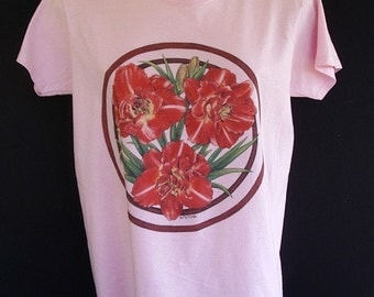 Daylily Flower Ladies Pink T-shirt Dark Pink Double Flower Size Small by AllKindsofArt