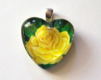 Rose Jewelry Valentine Pendant Yellow Heart Shape Art Glass