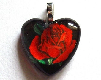 Red Rose Jewelry Pendant Heart Shaped Valentine Art Glass Colored Pencil art by AllkindsofArt