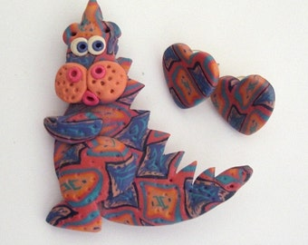 Polymer Clay Jewelry Dragon Pin Heart Earrings Pink Blue Peach