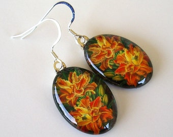 Orange and Yellow Double Daylily Oval Art Glass Earrings Holiday Party Daylily