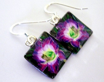 Purple Daylily Earrings Dangle Square Art Glass Lavender Purple Flower