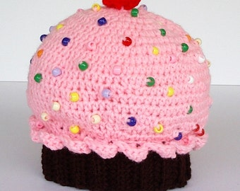 Childrens Crochet Hat Chocolate Cupcake Strawberry Pink Icing