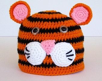 Toddler Childrens Striped Tiger Crochet Hat Orange and Black Cat Hat