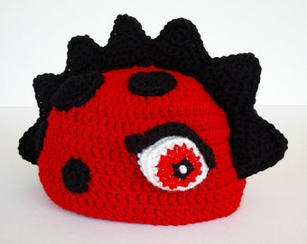 Dragon Dinosaur Crochet Hat Red with Black Spots Spikes