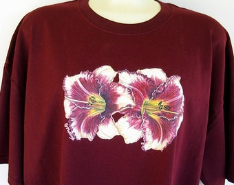 Daylily Flower T-shirt Maroon Red with Peach Cream Plus Size 2XL