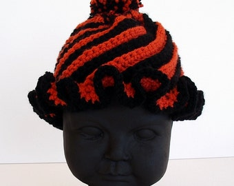 Infant Size Black and Orange Twist Crochet Hat