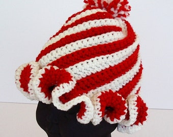 Crochet Peppermint Twist Hat Red and White Stripe Child Toddler Size