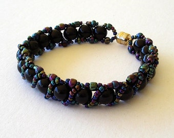Beaded Bracelet Jewelry Black Glass 8mm Black Aurora Borealis AB Seed Beads