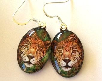 Jaguar Jungle Cat Jewelry Earrings School Team Mascot Oval Art Glass Colored Pencil Art