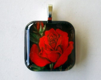 Red Rose Jewelry Pendant Small Square Art Glass