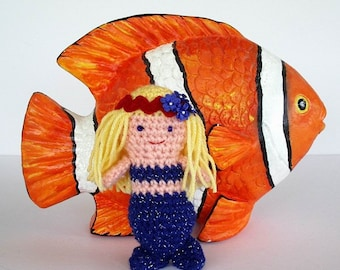 Blue Sparkle Mermaid Toy Crochet Doll Pink Skin Yellow Blond Hair Amigurumi