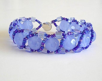Beaded Bracelet Jewelry: Light Blue Facets Dark Blue Rainbow Seed Beads