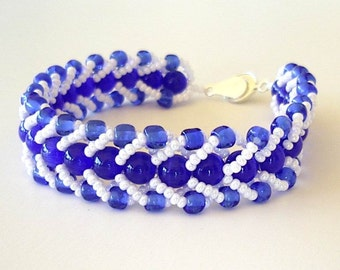 Beaded Bracelet Royal Blue White Glass & Stone Flat Spiral Stitch School Team Colors