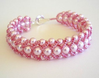 Beaded Bracelet Bridal Wedding Light Pink Pearl Glass Flat Spiral Stitch