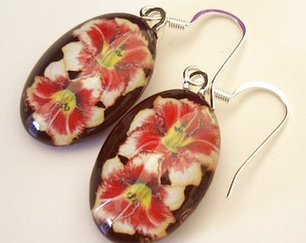 Daylily Earrings Cream Peach Red Maroon EyeSpots Oval Art Glass