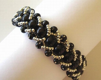Beaded Bracelet Jewelry Black and Silver Glass and Acrylic Beads