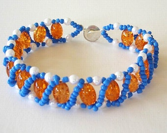 Beaded Bracelet OKC Thunder Basketball Team colors Blue Orange White Right Angle Weave