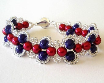 Beaded Bracelet Red Blue White Crystal Seed Beads Patriotic Lacy Look Right Angle Stitch Jewelry