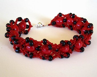 Beaded Bracelet Black and Cardinal Red Scarlet Crimson Glass Beads Flat Spiral Stitch