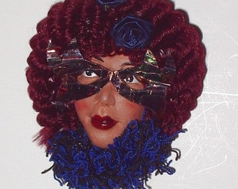 Lady's Doll Face Pin Polymer Clay Brooch with Mask and Burgundy Hair