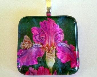 Purple Iris Butterfly Jewelry Art Glass Pendant Swingtown Iris by AllKindsofArt