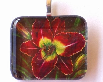 Daylily Jewelry Red-Violet Flower Art Glass Pendant