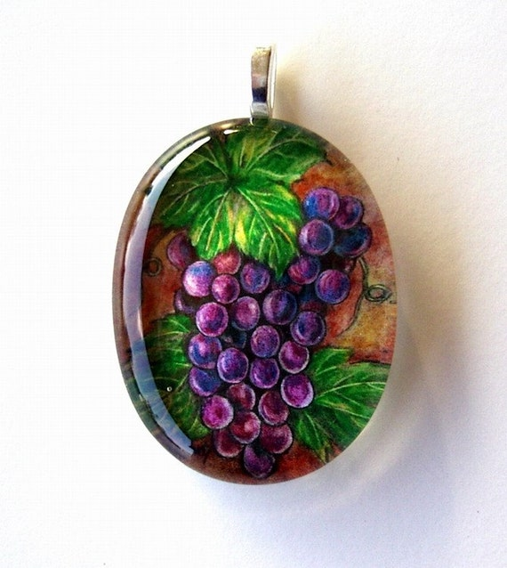 Grape Jewelry Purple Wine Cluster Art Glass Oval Pendant Colored Pencil Art