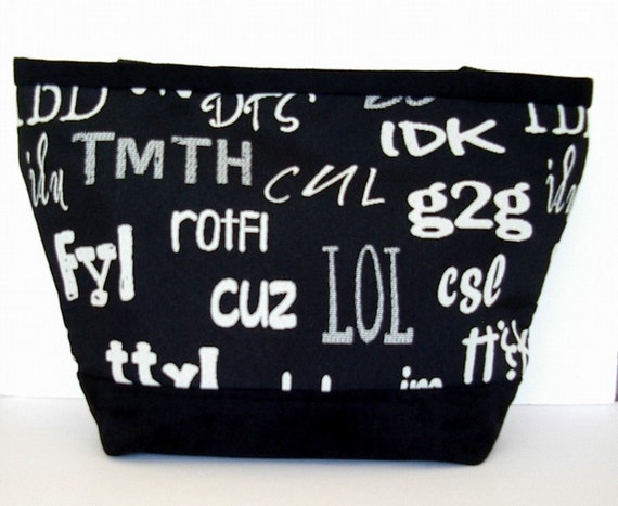 ON SALE Fabric Purse Tote Black and White Text Messages Tapestry Reduced Price