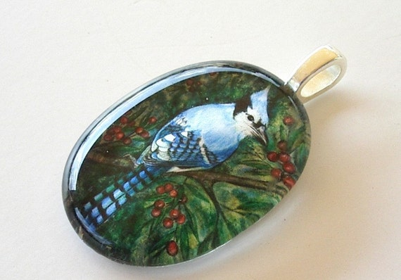 Blue Jay Bird Pendant School Team Mascot Oval Art Glass