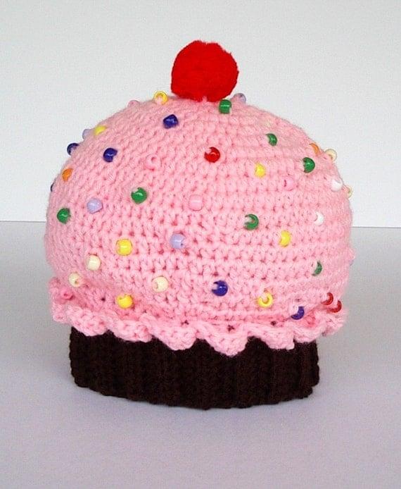 Childrens Crochet Hat Chocolate Cupcake Strawberry Pink Icing