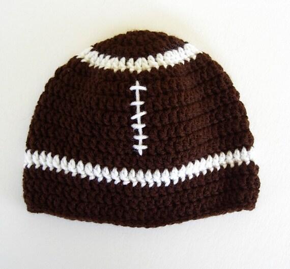 Childrens Football Crochet Hat Brown White