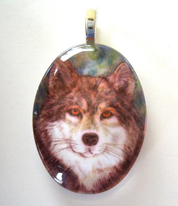 Timber Wolf  Jewelry School Mascot Oval Art Glass Pendant
