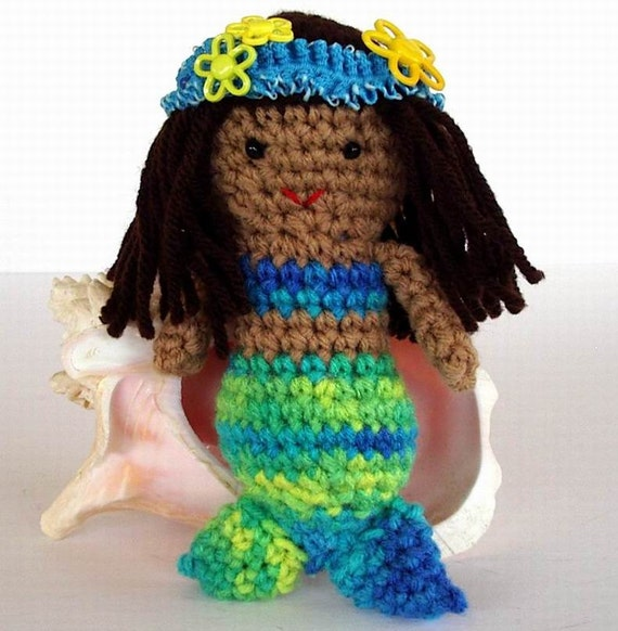 Mermaid Toy Crochet Doll Tan Skin Turquoise Lime Green Brown Hair